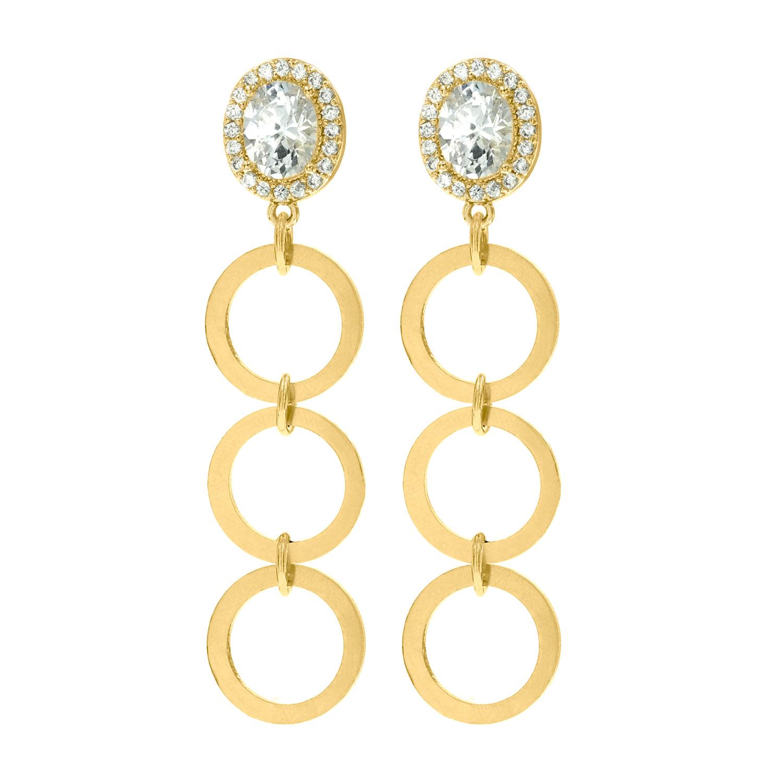 Gouden statement oorbellen met rondjes en sparkle