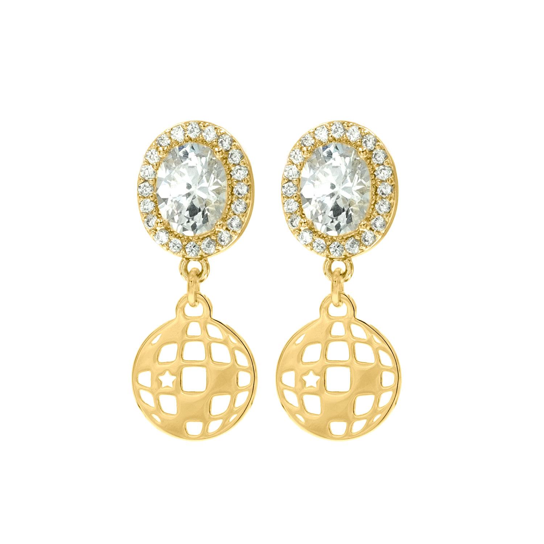Gouden party oorbellen met sparkle en discobal