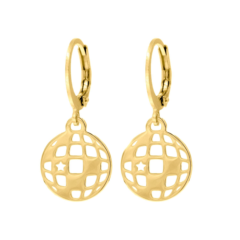 Gouden party oorbellen met discobal