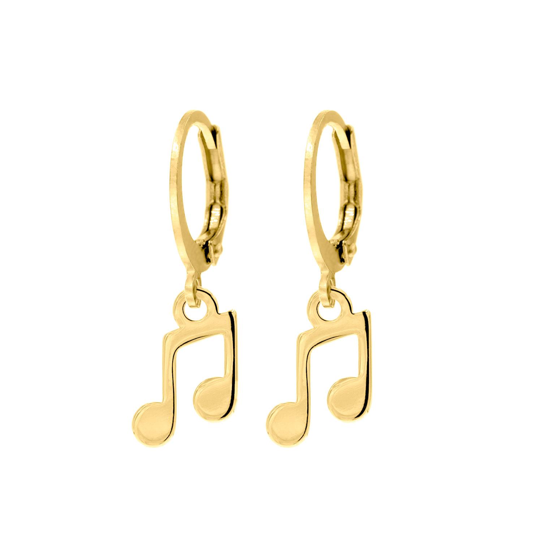 Gouden party oorbellen met muzieknoot