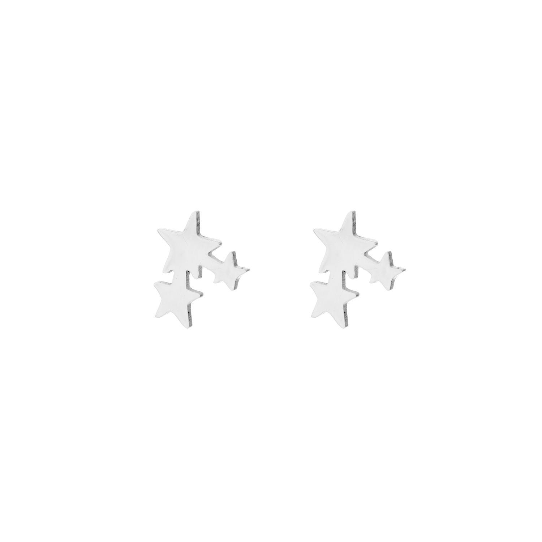 Zilveren stud oorbel sterretjes
