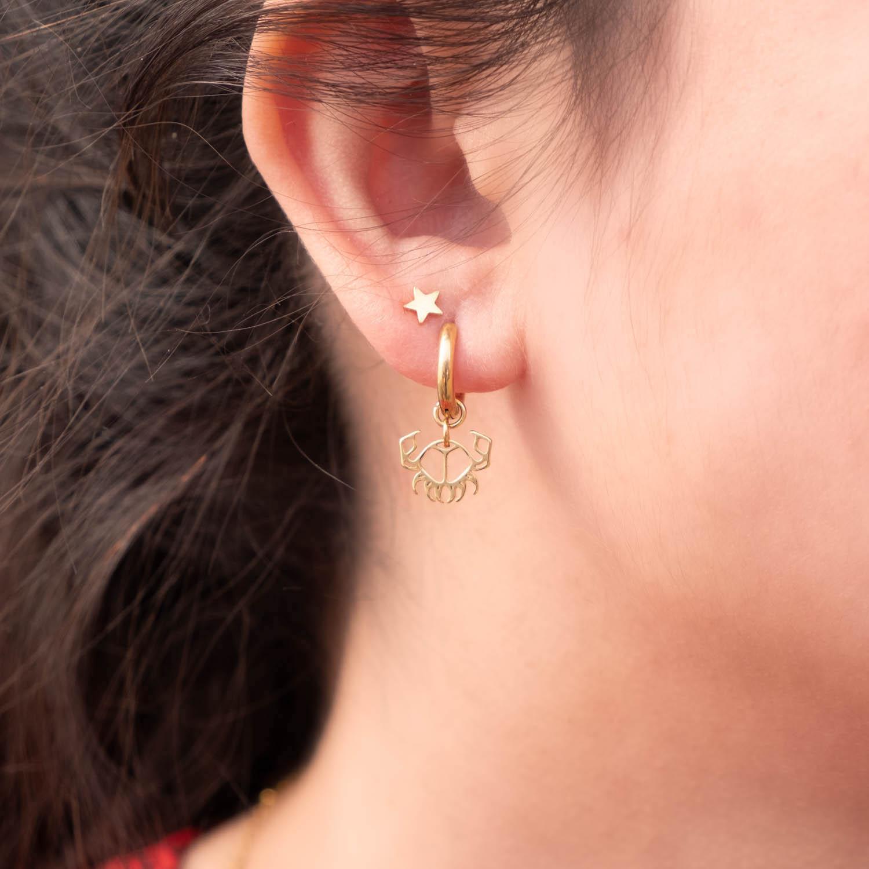Vrouw draagt sterren studs samen met kreeft oorbellen