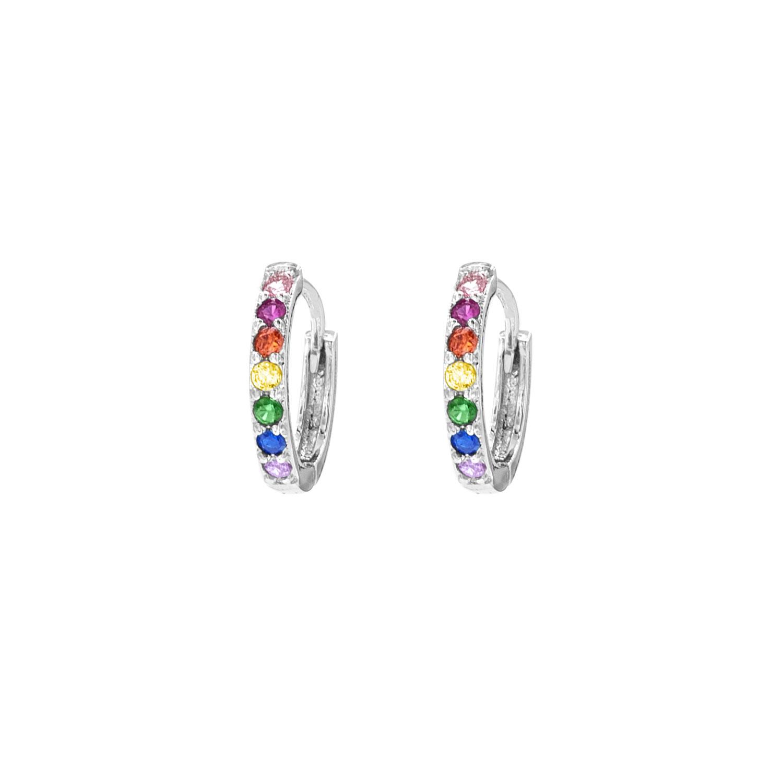 Zilveren oorringetjes met regenboog steentjes