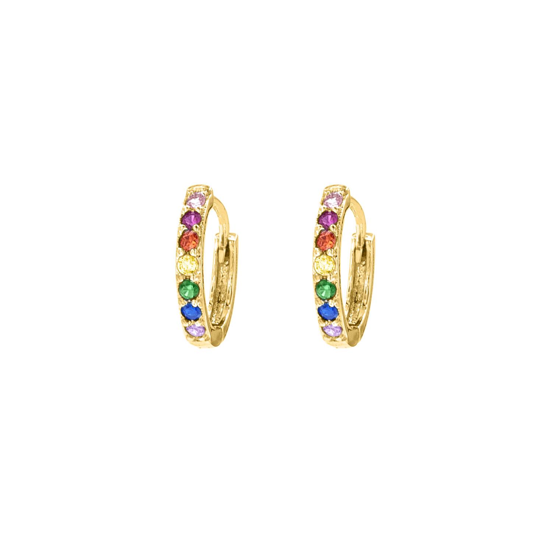 Gouden oorbellen met gekleurde steentjes
