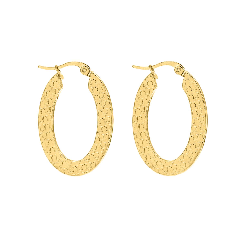 Gouden ovale oorringen met sterren structuur