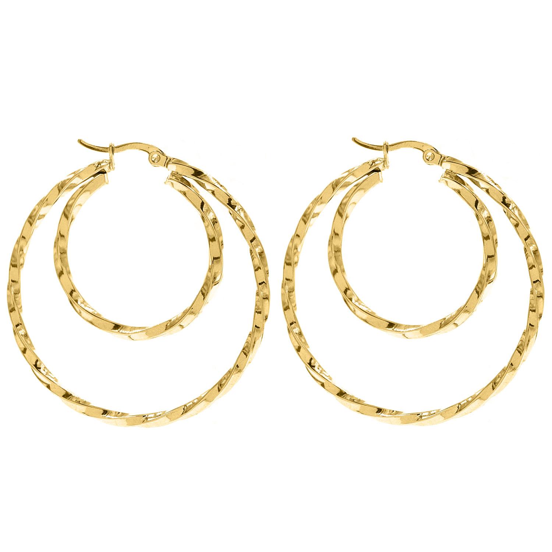 Gouden dubbele oorringen