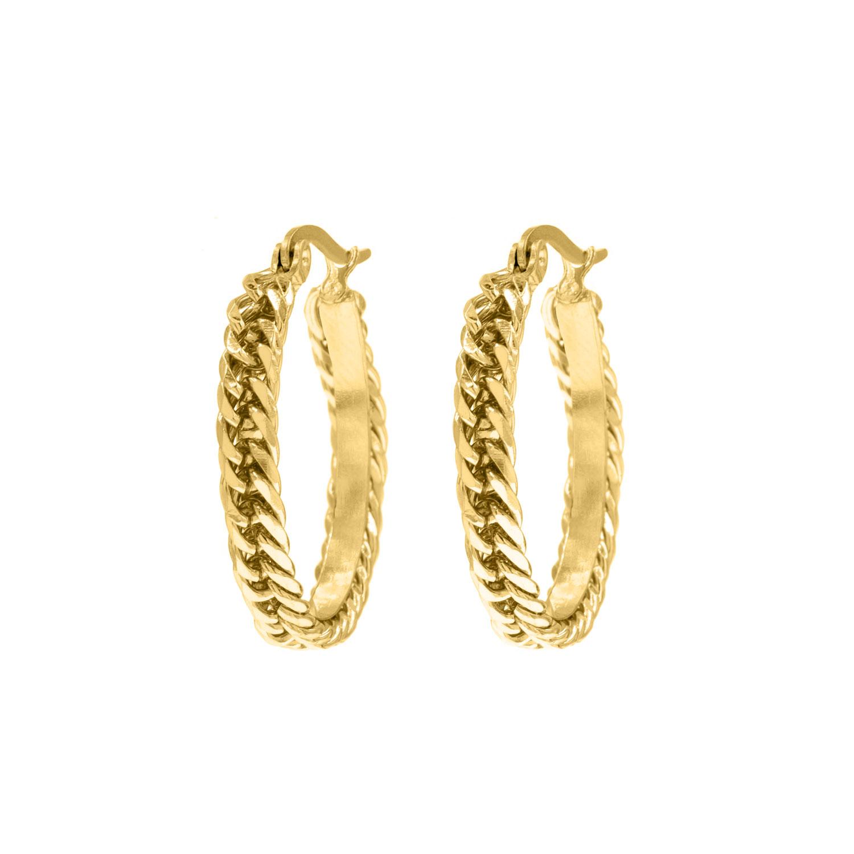 Gouden oorringen met gevlochten details
