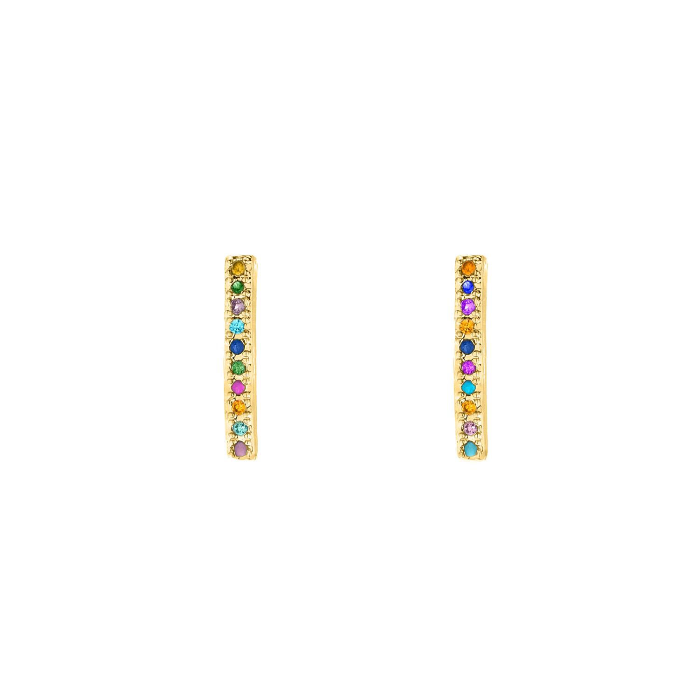 Rainbow oorbellen met bar goud kleurig