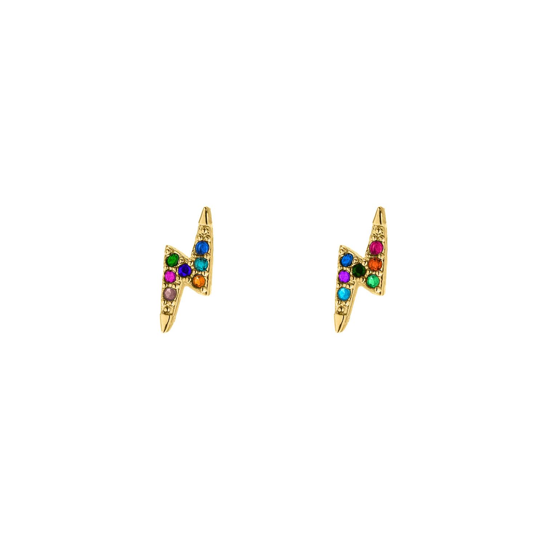 Gekleurde oorbellen met bliksem goud