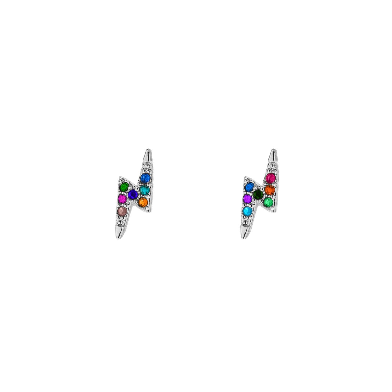 Gekleurde oorbellen met bliksem zilver