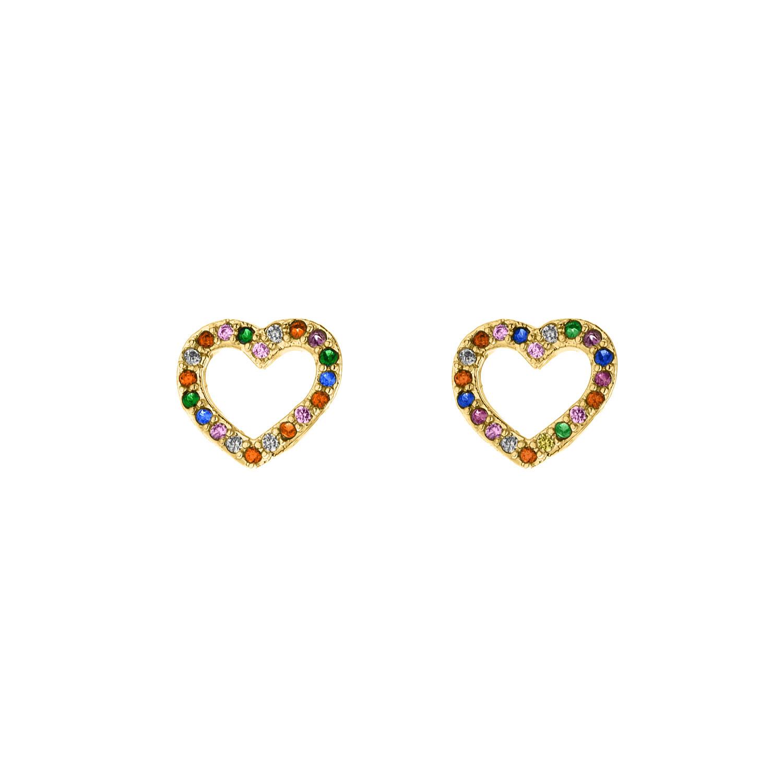 Rainbow oorbellen hartje goud kleurig