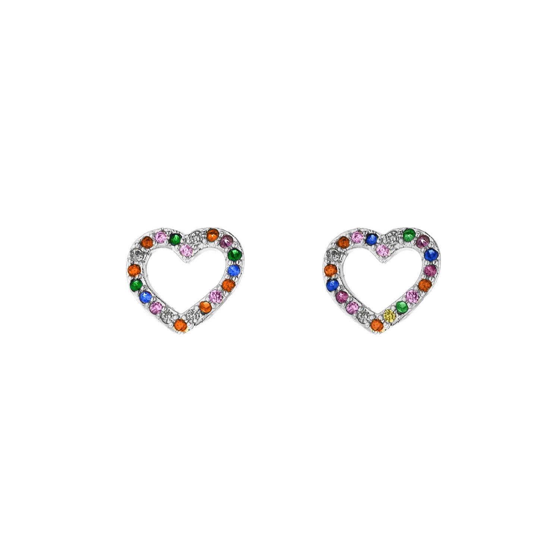 Rainbow oorbellen hartje zilver