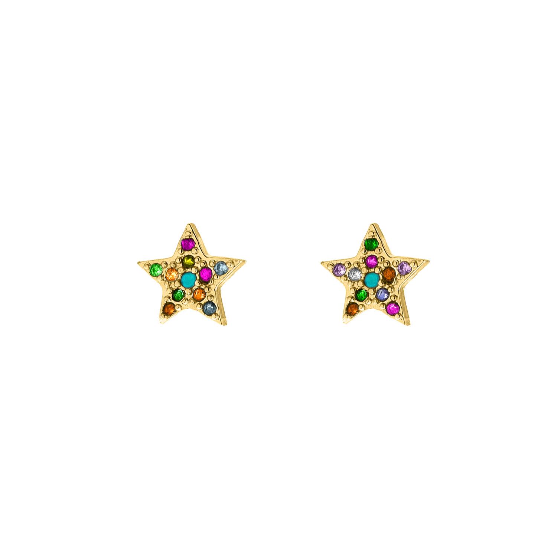 Regenboog oorbellen ster goud kleurig