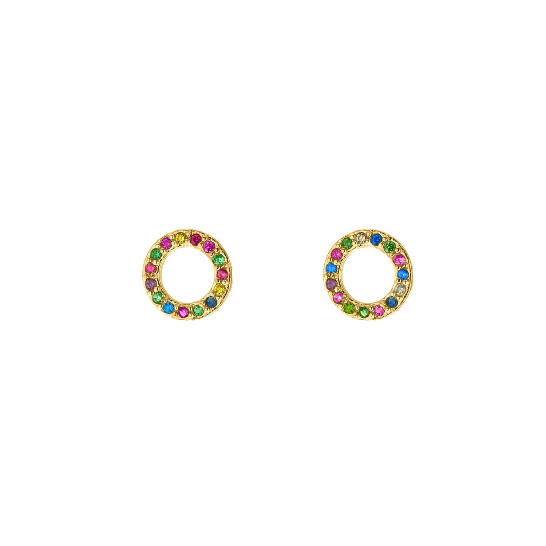 Ronde oorbellen met gekleurde steentjes goud kleurig