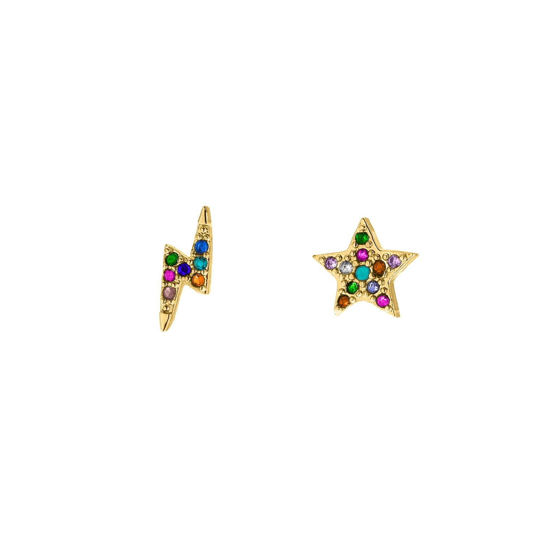 Gouden regenboog oorbellen met bliksem en ster