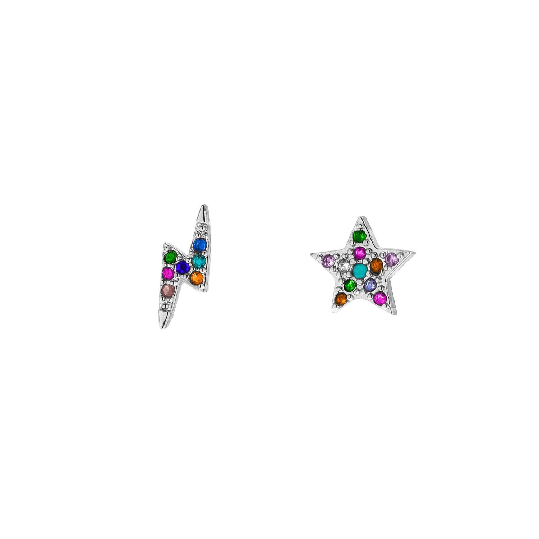 Zilveren regenboog oorbellen met bliksem en ster