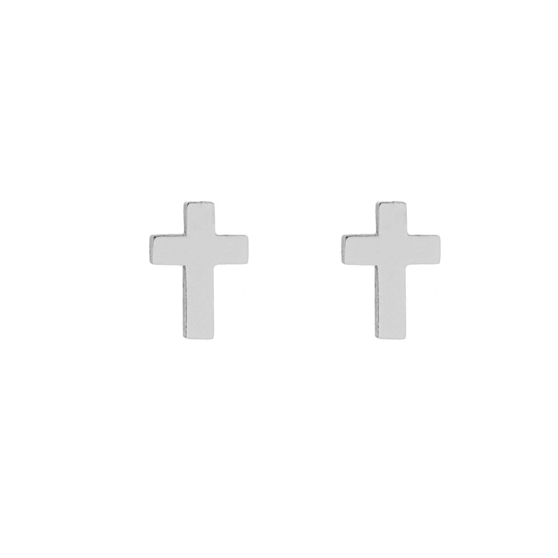 Stud oorbellen kruisje zilver