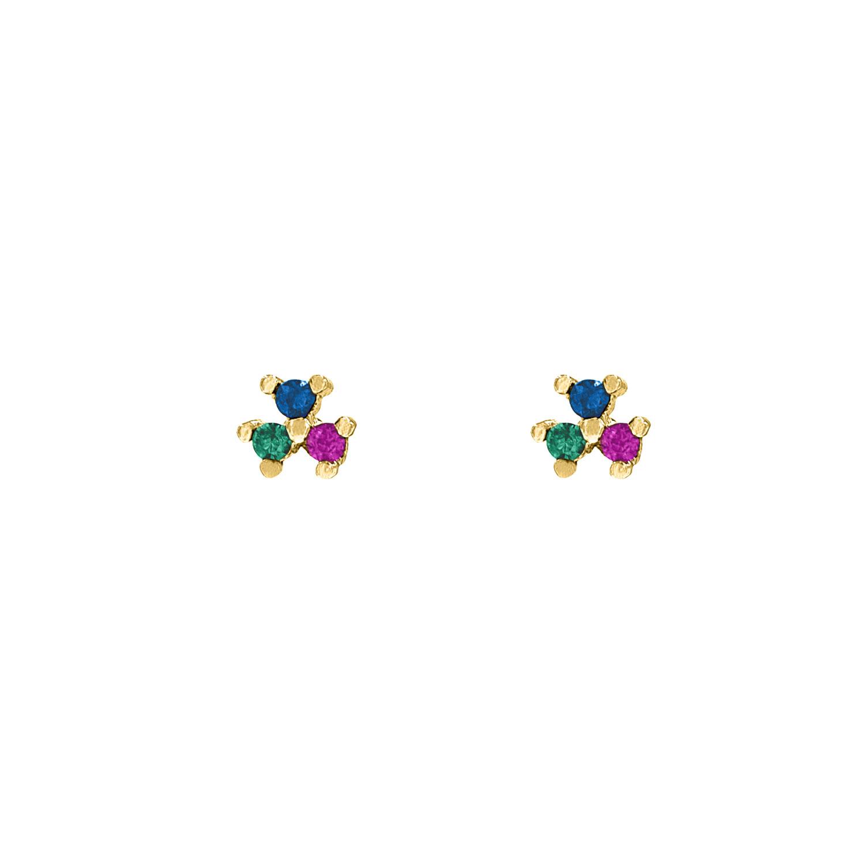 Stud oorbellen met gekleurde steentjes goud