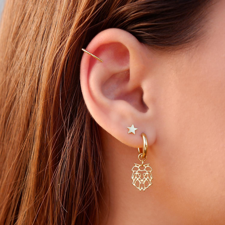 Leuke gouden oorbellen in het oor