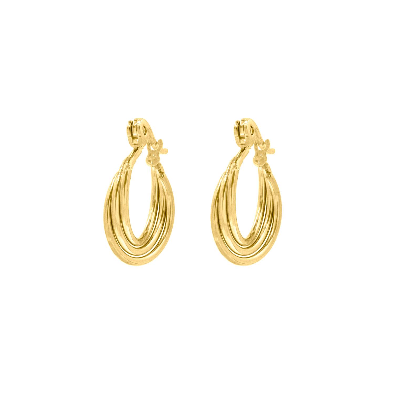 Oorbellen met drie ringetjes Goud