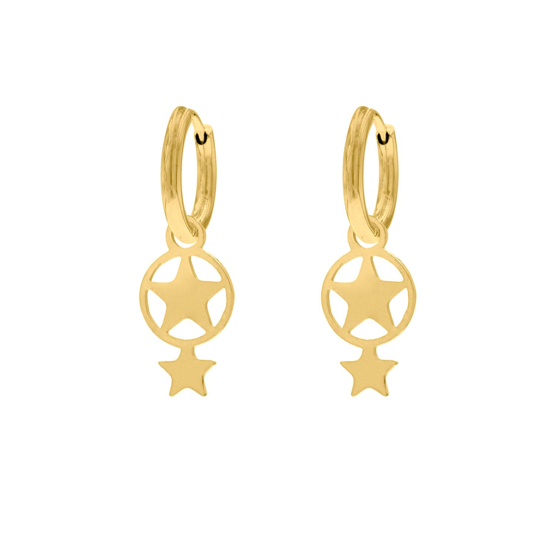 dubbele ster oorbellen goud oorringen met hanger finaste