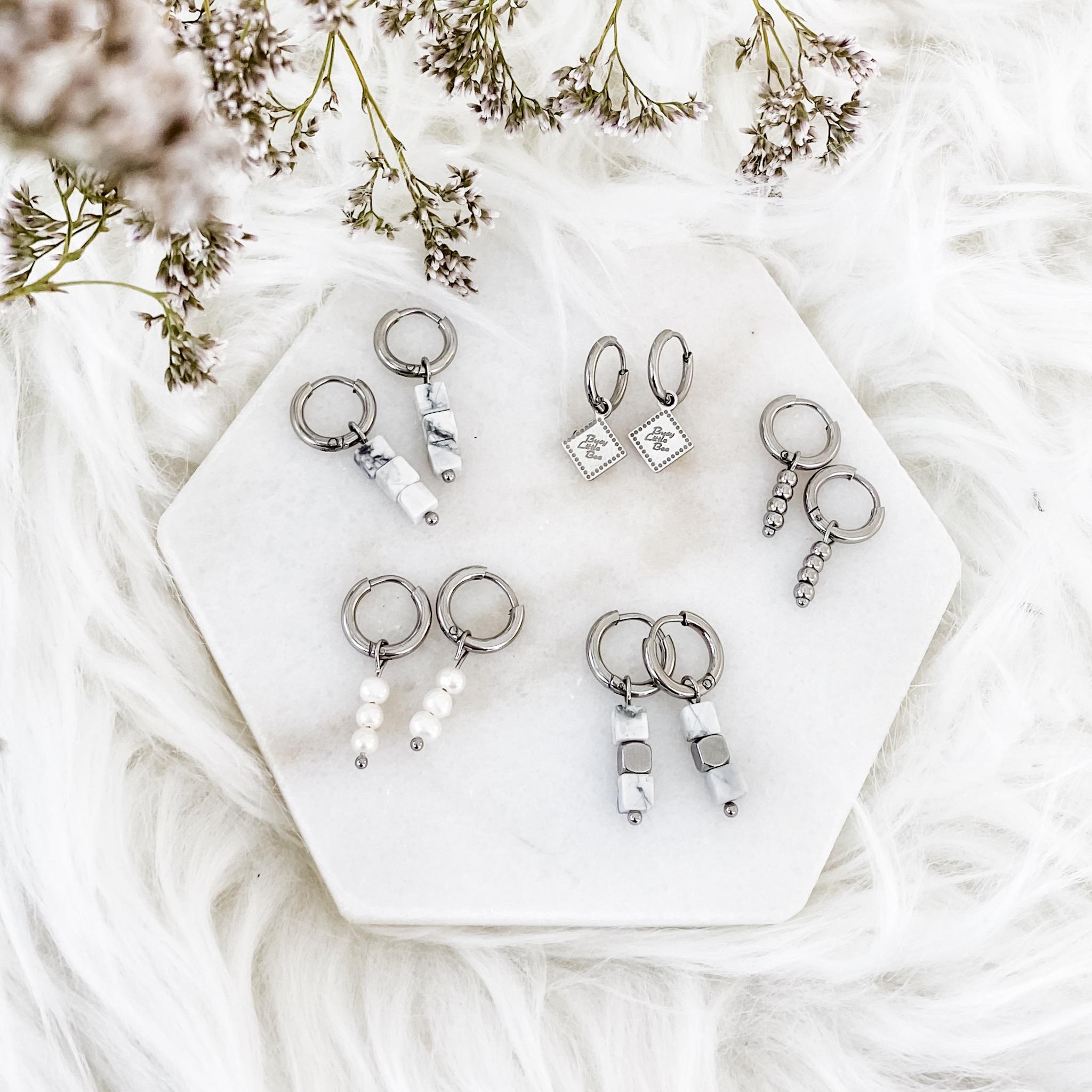 Mix van verschillende zilveren oorringetjes op een plaatje