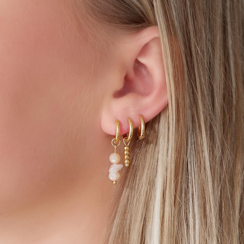 parel oorbellen met rozenkwarts voor een leuke earparty