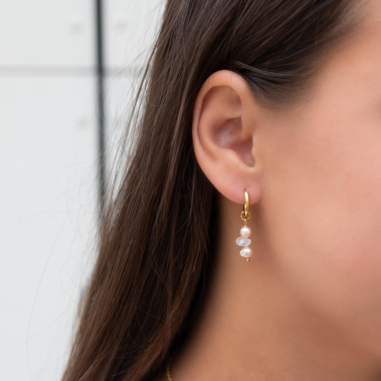 oorbellen goud met parel en rozenkwarts in
