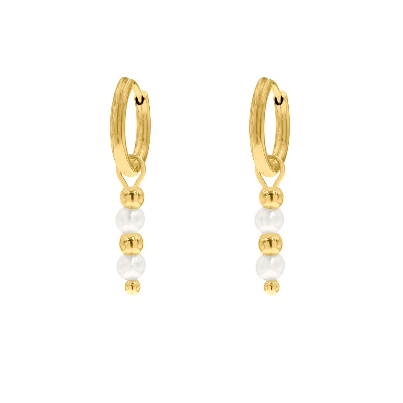 Parel oorbellen met steentjes goud