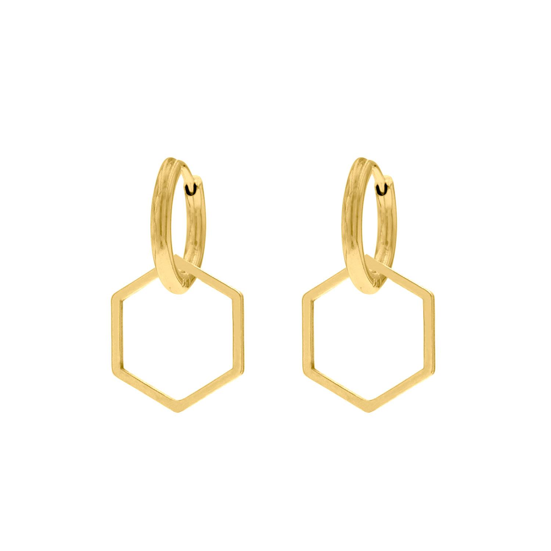 Oorbellen met hexagon hanger goudkleurig