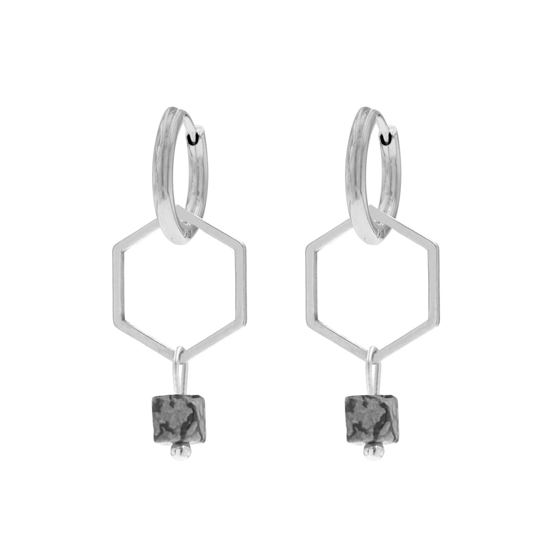 Hexagon oorbellen met marmer