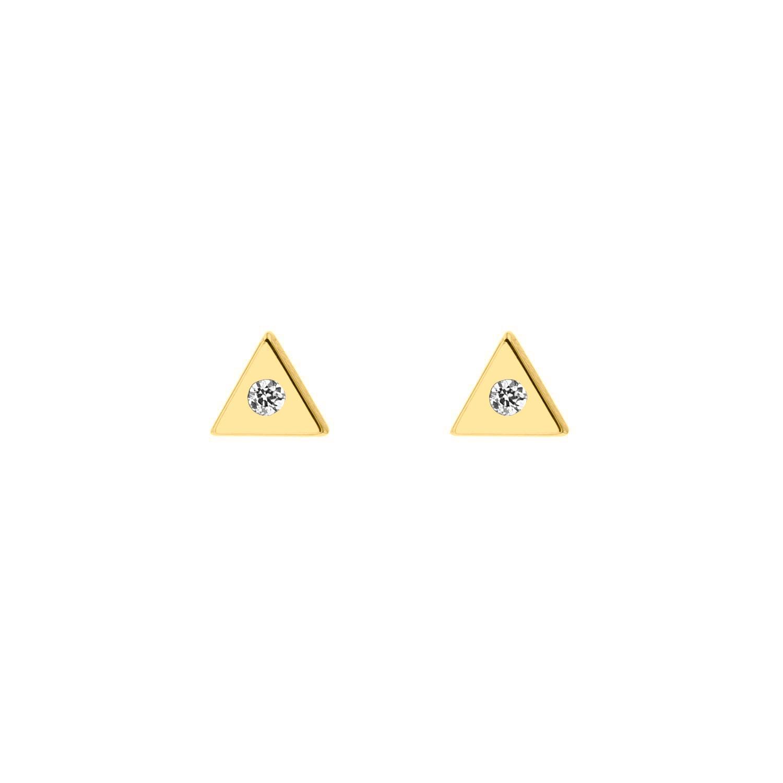 Stud oorbellen driehoek met steentje Goudkleurig