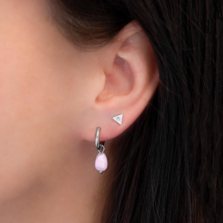 Trendy earparty met een steentje en stud oorbel