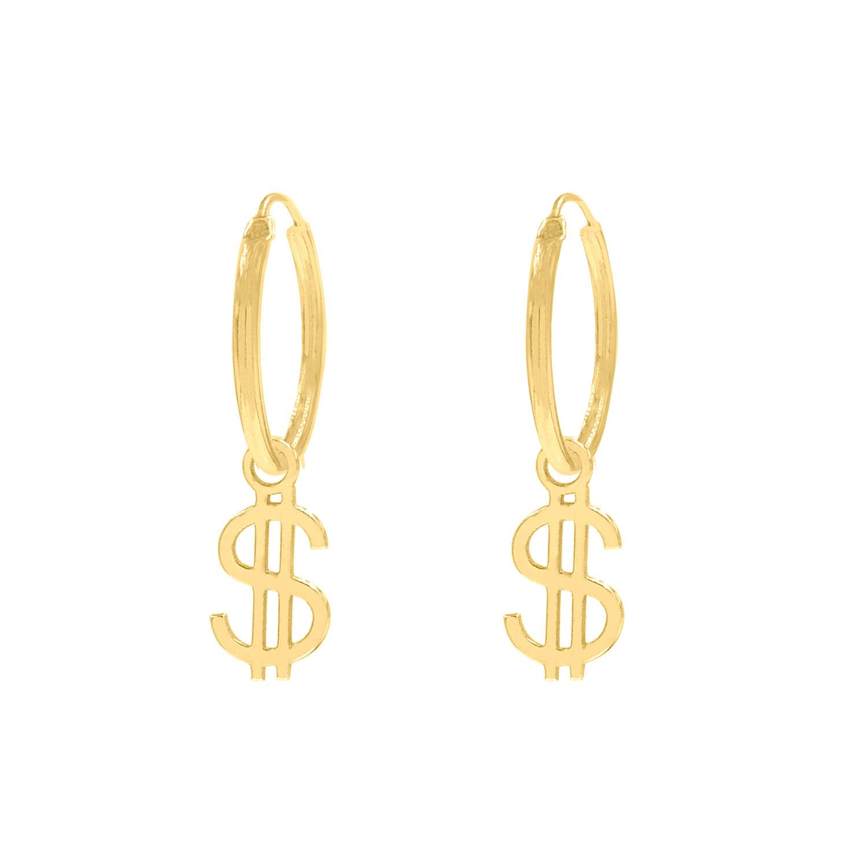 Oorringetjes dollar teken goud kleurig