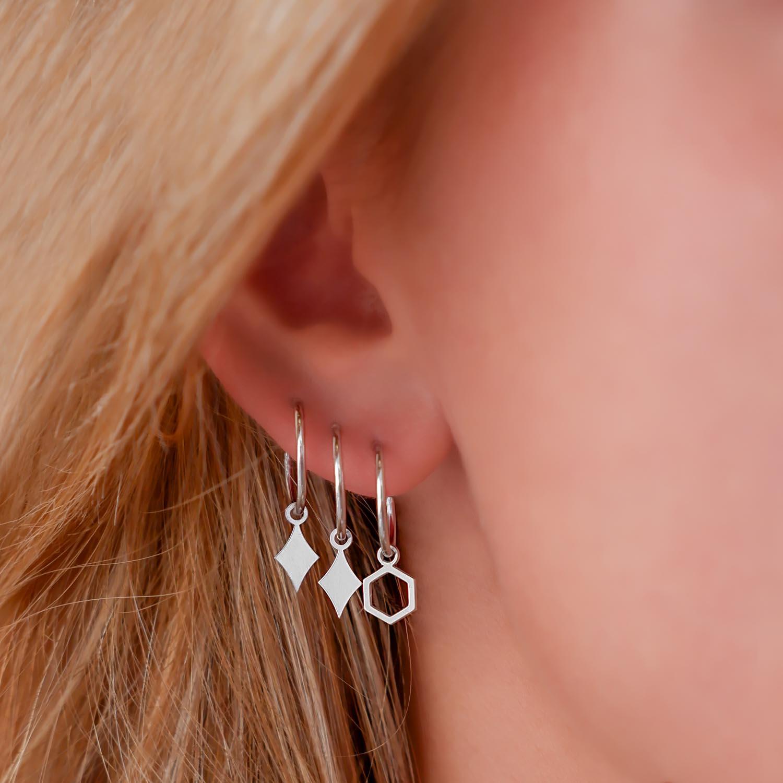 Hexagon hanger oorbellen