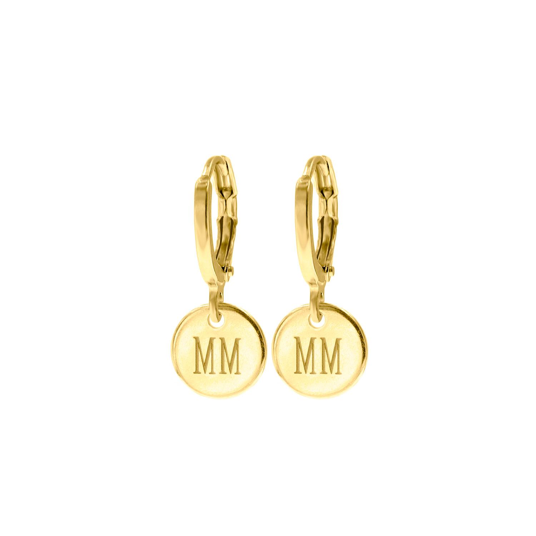 Gouden graveerbare oorbellen muntje