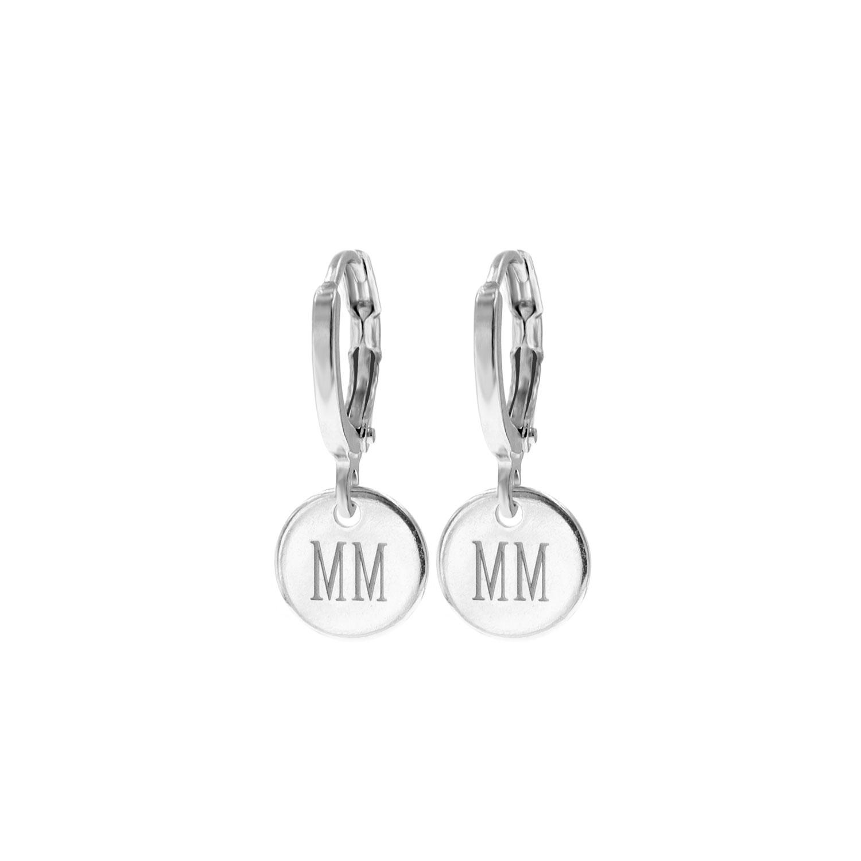 Graveerbare oorbellen met muntje zilver