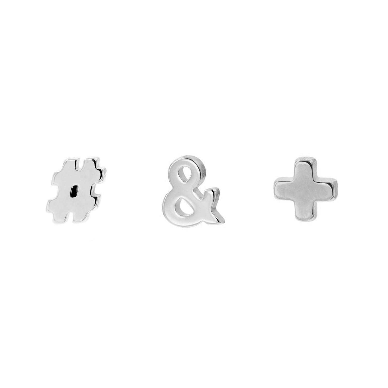 Zilveren stud oorbellen set