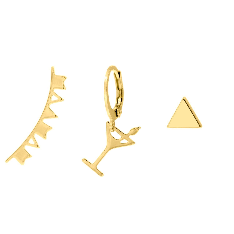 Gouden party oorbellen set