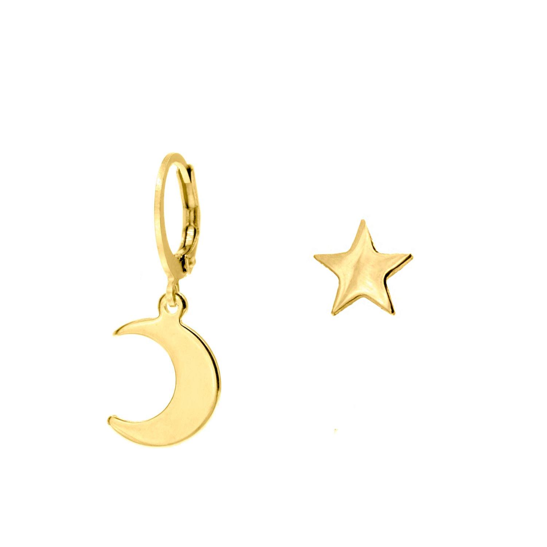 Gouden earparty met maan en ster