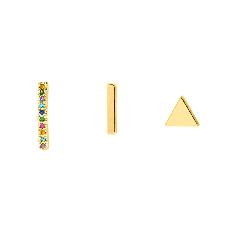 Gouden bar stud oorbellen set