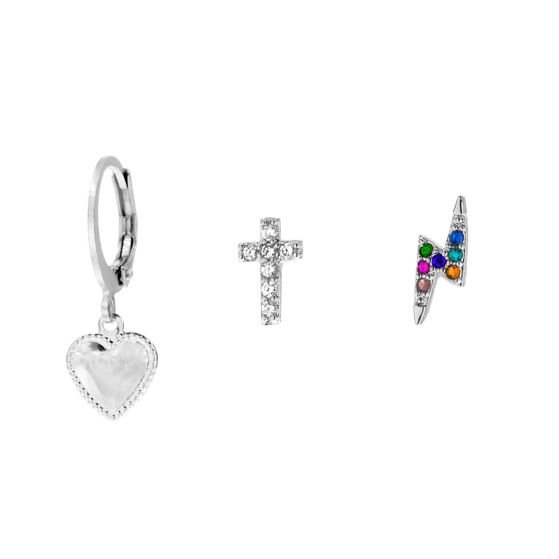 Zilveren oorbellen set met hartje