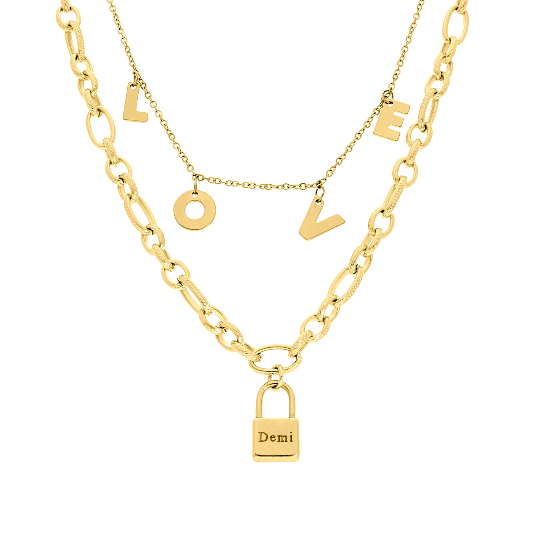 Lock & love kettingen set goud kleurig